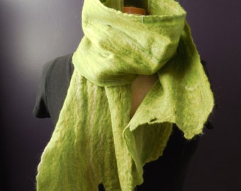 Hand felted, Wet felted, scarf, Merino wool, OOAK