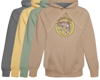 Madison River Fly Fishing Hoodie / Fleece Montana -- zip-up or pullover -  Fly Fishing Gift - Softest Cotton Hoodie - Montana Fishing