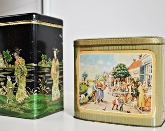 Set of 2 Large Tin Box Cannisters -  Hofnar Cigarette tin box and Asian Theme Storage Container