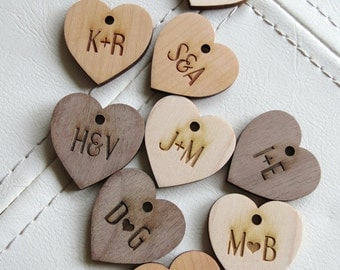 50 - 1.25 x 1.25 Heart Tags - Custom Wedding Tags - Wood Wedding Tags