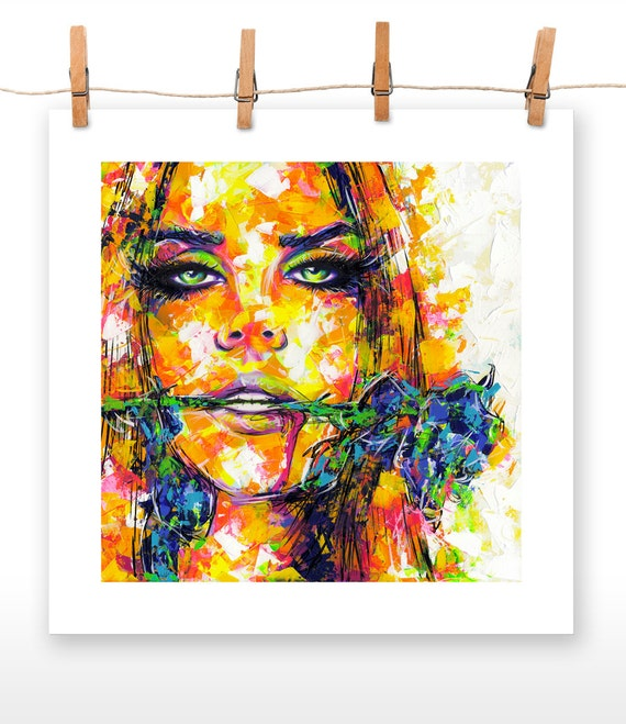 BLUE ROSE 20x20 Poster Print of an Original Acrylic Painting of Lana Del Rey
