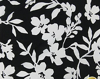 "Black White Floral Spandex Fabric SALE 4 Way Stretch Lycra Knit By The Yard 58""-60"" Wide"