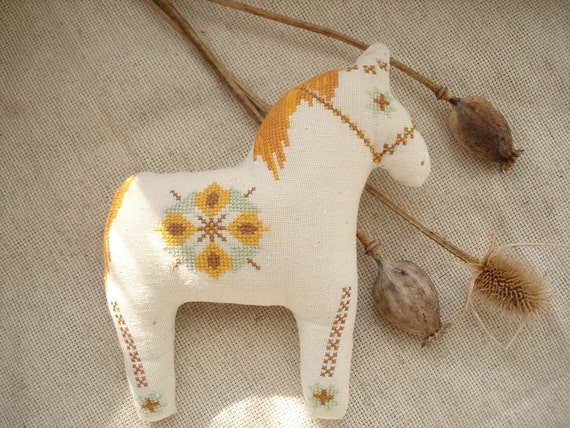 Embroidered horse the sun canvas