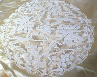 Hand made Filet Lace Table Centre in White