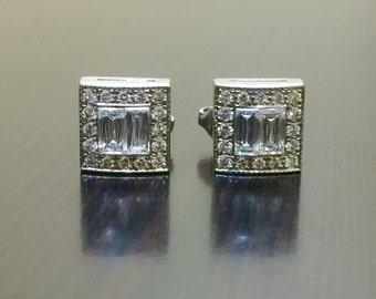 18K White Gold Emerald Cut Diamond Earrings - Art Deco 18K Gold Diamond Stud Earrings - Halo Diamond Emerald Cut Earrings - Diamond Earrings