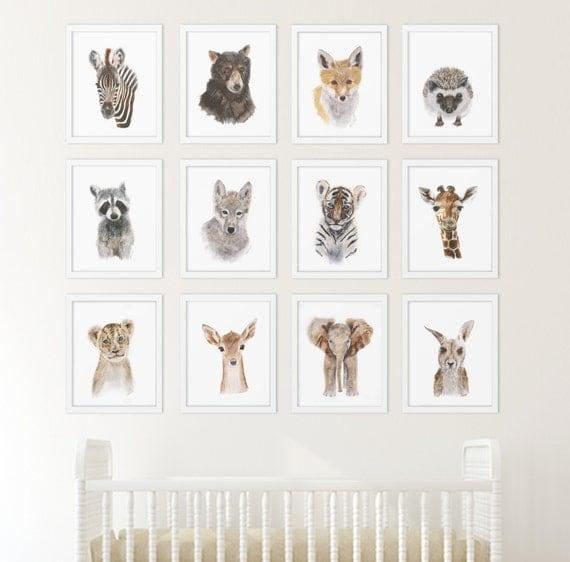 Animal Wall Art set of 12 prints animal art collection nursery art home