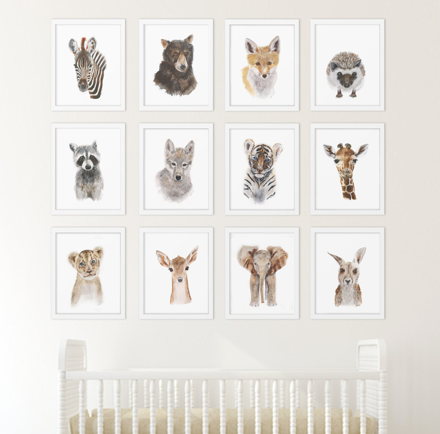 Set of 12 prints animal art collection nursery art home for Animal decoration