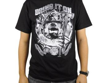 United States American FireFighter T-Shirt Black Bulldog