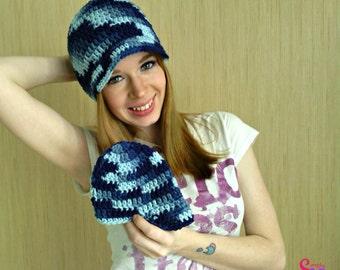 Crochet Blue Ombre Mommy Newborn Hospital Photo Prop Newsboy Brim Winter Beanie Hat, Ready to Ship HC0038 HA0011