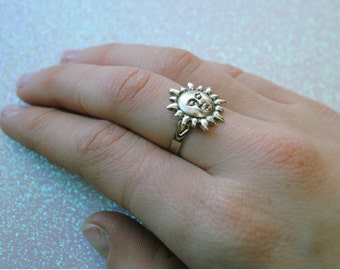 Silver Sun Adjustable Ring Sun Ring Hypoallergenic Ring Silver Planet Ring Galaxy Jewelry Astronomy Jewelry Planet Jewelry Sun Charm Ring