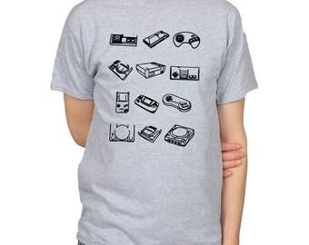 Classic Game Consoles Sega SNES Nintendo Playstation 64 Gamegear Retro T-Shirt