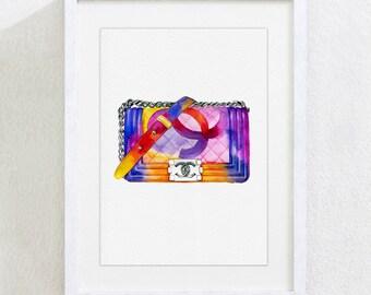 ART PRINT Original Watercolor Painting Fashion Illustration Bag pink purple orange blue  Watercolor Wall Home Decor Ar