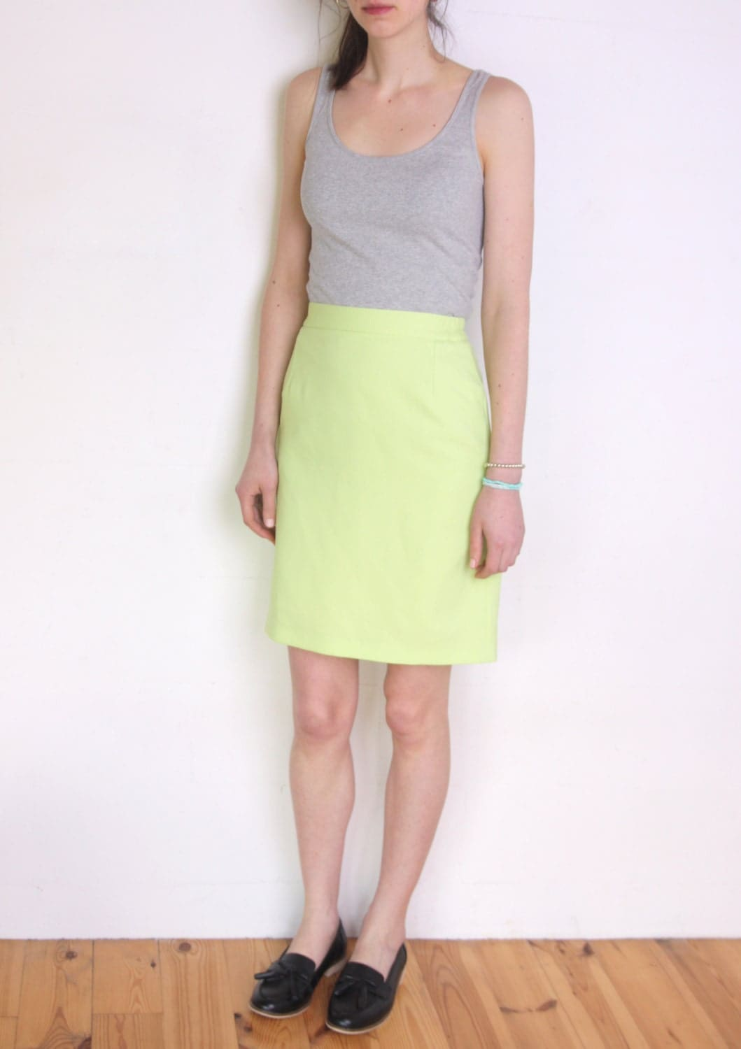 90 s bright lime green neon yellow green pencil skirt