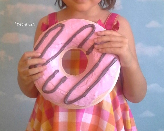 GIANT Faux Donut Fake Glazed Doughnut Pastel Pink Frosting with Chocolate Drizzle WALL DECOR Fake Cake Kitchen Decor Display 3D Cafe
