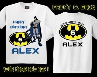 Personalized Batman Birthday Shirt  Front and Back - tshirt custom Comic Super Hero