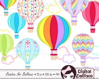 Rainbow Hot Air Balloon, Instant Download Clipart / Hot Air Balloon Digital Clip Art