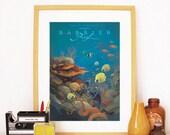 Retro Great Barrier Reef Australia Travel Poster