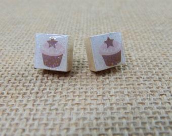 Petite Pink Star Cupcake Scrabble Tile Post Earrings