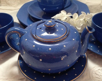 Small Blue and White Polka Dot Tea Set for Three- Adderley Ware Great Britain- 12 pieces