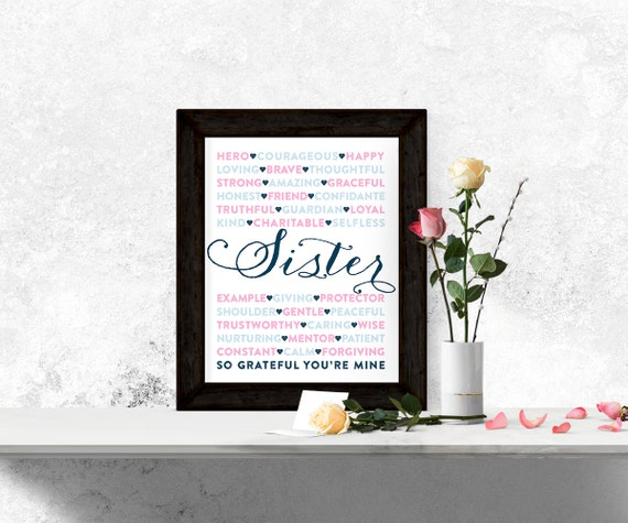Thoughtful Wedding Gift For Sister : ... day gift for sister - thoughtful subway wall art - unique sister gift