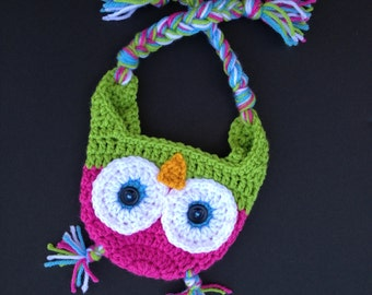 Baby Girl Owl Hat, Handmade Crochet Owl Hat, Hot Pink Owl Hat, Newborn Photo Prop, Pink and Green Owl Hat