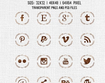 Social media icons pack, PNG & PSD files - for Blogs and Websites - watercolor ramage brown - Instant DOWNLOAD