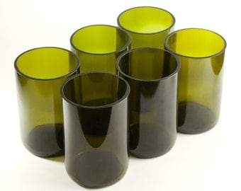 6x Upcycled Glass Tumblers made from Recycled Wine Bottles [Olive Green] - homeware, glassware, kitchen, sustainable