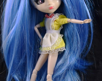 BLUE Straight Removable Pigtails Wig with bangs for Pullip Dolls 1/3 Head size