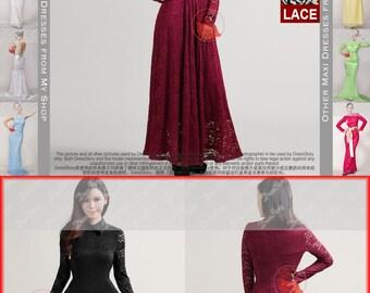 Maroon Lace Maxi Dress with Shirt Collar - Lace Prom Dress - Maroon Lace Dress-Dark Red Maxi Dress-Black Lace Dress-White Maxi Dress-193 333