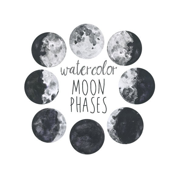 Moon Phases, Lunar Chart Clip Art, Digital Download Moon Chart ...