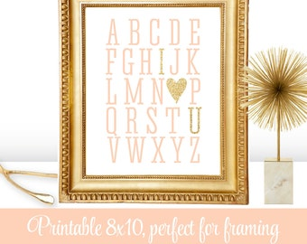 Alphabet ABC I Love You Heart - Printable Peach Gold Glitter Decoration Wedding Sign, Nursery Wall Art Print, Valentine's Day Home Decor