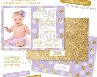 She Leaves A Little Sparkle Invitation First Birthday - 1st birthday invitations girl purple