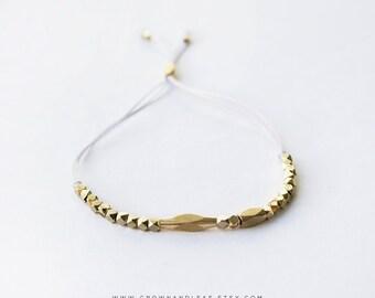 Light Grey / Thread Bracelet / Gold Bead Bracelet / Cord Bracelet / Bridesmaid Bracelet / Gold Delicate Bracelet / Wish Bracelet / Dainty