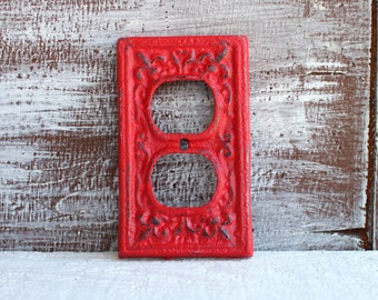 Outlet Cover, RED Electrical Cover, Wall Outlet Cover, Cast Iron Socket Cover, Plug Cover, Receptacle Cover Plate, Rustic Home Decor