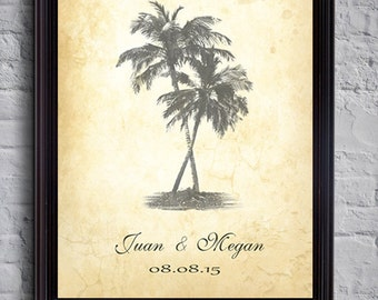 Vintage Guest book - Rustic Palm tree guestbook - Wedding Guest book - Wedding poster - Housewarming - Wedding gift - Destination wedding