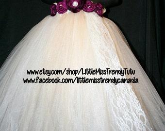 Ivory Flower Girl Tutu Dress, Ivory and Wine Flower Girl Tutu Dress, Ivory Tutu Dress, Ivory Wine Tutu Dress, Ivory Burgundy Tutu Dress