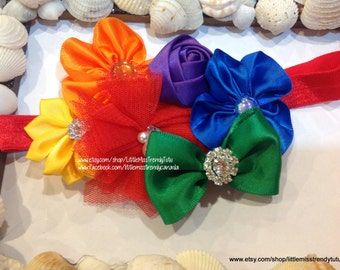 Rainbow Couture Headband, Rainbow Headband, Circus Headband, Clown Headband, Headband, Girls Headband, Rainbow Head Band Girls