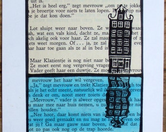 Amsterdam Reflections: one-off handmade painted lino print of canal house & watery reflection on vintage 1950s Dutch children's book page.