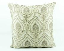 Persian Rug Euro sham 26x26 Pillow cover, Gold Pillow, Persian Decor, Damask Pillow Beige Accent Coussin géométrique