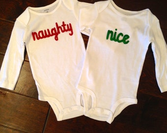 "Christmas ""Naughty/Nice"" Bodysuit Set"