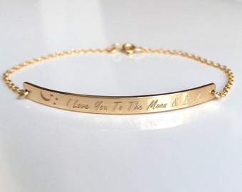 "Gold ""I Love You To The Moon And Back"" Bar Bracelet - Custom Engraved Message - Personalized Bar Bracelet"