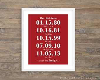 We Are Family Special Dates Print - Personalized Family Art Print - Custom Family Name and Dates Print - Red and White