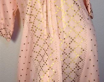 FREE  SHIPPING   1950's Nylon  Lingerie Robe