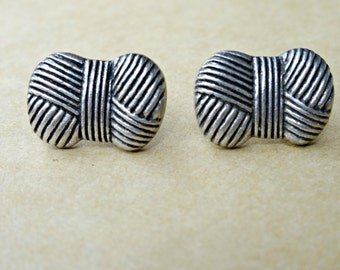 Silver Ball of Yarn Earrings, Crafting Jewelry, Yarn Jewelry, Silver Yarn, Plastic Button Earrings, Plastic Post earrings, Yarn Earrings