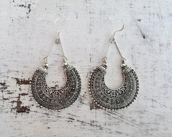 Ethnic earring miao tibetan silver dangle earring boho
