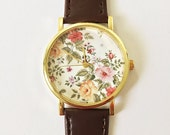 Autumn Fall Floral Watch, Vintage Style Leather Watch, Women Watches, Unisex Watch, Boyfriend Watch, Black, Tan,
