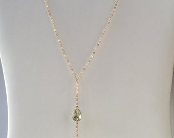 Green amethyst lariat necklace, gold chain lariat, gold y necklace, chain lariat, amethyst necklace, chain necklace