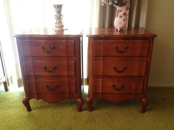 Pair french provincial nightstands 3 drawer by for French nightstand bedside table