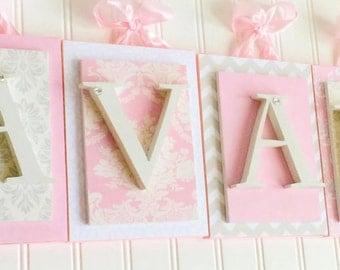 Nursery letters, Pink and Cream Nursery Letters, Girls Wall Letters, Girls Wall Letters,Wooden Nursery Letters, Custom Letters, Wood Letters