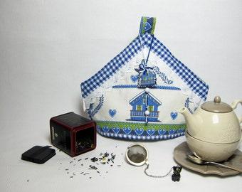 Blue Country teapot cover / Fabric teapot cozy / Blue teapot cover / Fabric tea set / Tissue breakfast set / Blue novelty teapot cozy